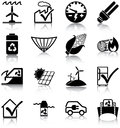 Renewable energies and energy efficiency related icons silhouettes Stock Photos