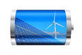 Renewable energy battery containing solar panels and wind turbine Royalty Free Stock Image