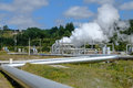 Renewable energy from a geothermal field Royalty Free Stock Images