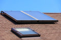 Renewable energy. Solar panel on roof. Royalty Free Stock Photo