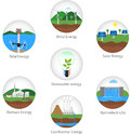 Renewable energy types power plant icons vector set alternative solar wind hydro biofuel geothermal tidal useful Stock Images