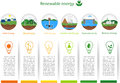Renewable energy types power plant icons vector set alternative solar wind hydro biofuel geothermal tidal useful Royalty Free Stock Photos