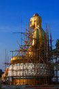 Renovate golden buddha statue in thailand Stock Photos