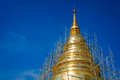 Renovate golden pagoda at wat phra singh chiang mai thailand the traditional thai style sculpture Stock Photo