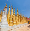 Renovated ancient stupas at indein inle lake myanmar Stock Photo