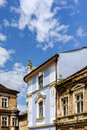Renovated ancient tenement surrounded by dilapidated buildings in the old town market square in bielsko biala poland Stock Photos