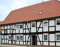 Renovated half timbered house in a small town Stock Photo