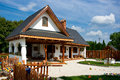 Renovated old house pottery shop folk architecture in hungary Stock Images