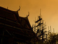 Renovated pagoda silhouette Royalty Free Stock Photo