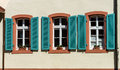 Renovated pvc windows in old village house france Stock Image