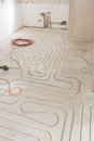 Renovation of an appartment with new underfloor heating Royalty Free Stock Photo