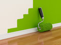 Renovation concept d render of roller brush with part painted wall Stock Image