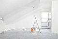 Renovation fresh painted renovated attic apartment Stock Photos