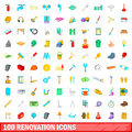 100 renovation icons set, cartoon style