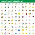 100 renovation icons set, cartoon style
