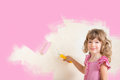 Renovation kid painting wall with pink color concept Stock Photo