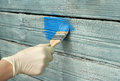Renovation old house wall painting light blue paint Royalty Free Stock Image