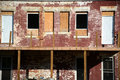 Renovation rear of a building under with windows boarded up Royalty Free Stock Photography