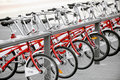 Rent a bike several bikes for are seen in velo station Royalty Free Stock Photography