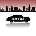 Rent a car abstract colorful background with silhouette having the text written with white letters rental concept Royalty Free Stock Image