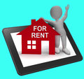 For rent house tablet shows rental or lease property showing Stock Photo
