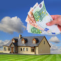 Rent payment in euro banknotes Stock Images