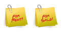 For rent or sale sticky note illustration design Stock Photos