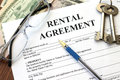 Rental agreement with dollars and keys Stock Images