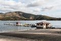 Rental Boats at Dock and Launch Ramp at Otay Lakes Royalty Free Stock Photo