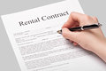 Rental contract form with pen Stock Image