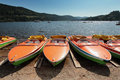 Rental rowboats at Lakeshore Titisee in the Black Forrest Royalty Free Stock Photo