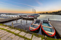 Rental rowing boats in a marina at dutch lake Royalty Free Stock Photo
