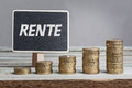 Rente pensions in German language with money stacks Royalty Free Stock Photo