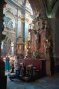 Reopened interior of the sts peter and paul church of the jesuit order in lviv ukraine june religious baroque monument on june Royalty Free Stock Photo