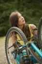 Repair a bike Royalty Free Stock Photo