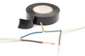 Repair of electrical cable using insulating tape on white closeup connecting tangled Royalty Free Stock Photos