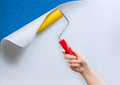 Repair and furnish of walls by adhesive paper. Royalty Free Stock Photo