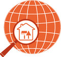 Repair icon with house trowel, roller and planet Stock Images