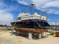 Repair of a large ship in dry dock, Cyprus Royalty Free Stock Photo