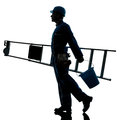 Repair man worker ladder walking silhouette Royalty Free Stock Photo
