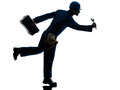Repair man worker running urgency silhouette Stock Images