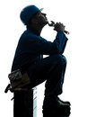 Repair man worker sad fatigue failure  silhouette Royalty Free Stock Photo