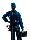 Repair man worker standing smiling  silhouette Stock Photo