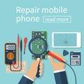 Repair mobile phone.