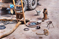 Repair rotten sewer pipes equipment for and cleaning of Royalty Free Stock Photo