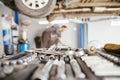 In repair service close up of tools car Royalty Free Stock Image