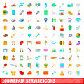 100 repair service icons set, cartoon style