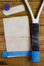 Repair tape to restore tennis racket the handle of a Stock Images