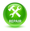 Repair (tools icon) glassy green round button
