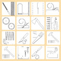 Repair tools vector collection of icons of joiner s modern line style labels Royalty Free Stock Images
